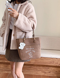 Fashion Brown Letter Cartoon Shoulder Bag