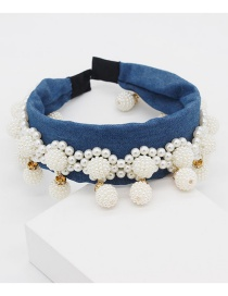 Fashion Dark Blue Pearl Drop Ball Headband