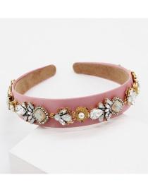 Fashion Pink Diamond Geometric Flower Headband