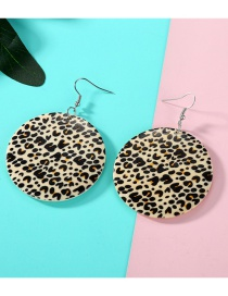 Fashion Yellow Small Leopard Wood Round Earrings