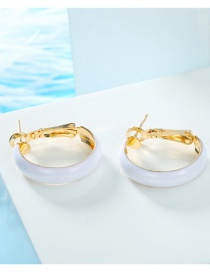 Fashion White Round Hoop Earrings