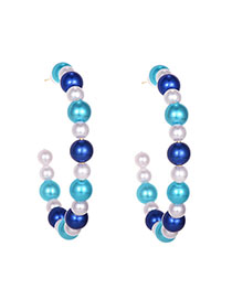 Fashion Blue Alloy Pearl Round Earrings