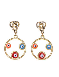 Fashion Gold Alloy Dripping Eye Round Earrings