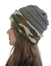 Fashion Dark Gray Cc Camouflage Wool Cap