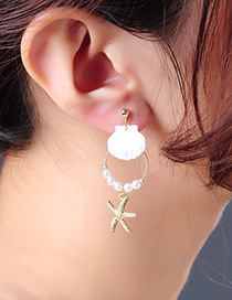 Fashion Gold Starfish 925 Sterling Silver Shell Pearl Earrings