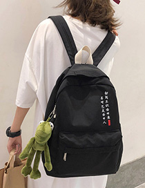 Fashion Black Solid Color Letter Backpack