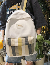 Fashion Green Striped Stitching Label Backpack