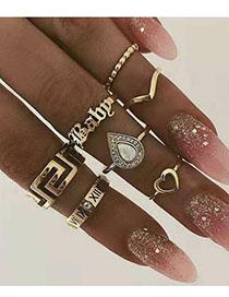 Fashion Gold Alloy Letter Ring Set