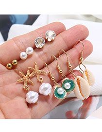 Fashion Gold Alloy Pearl Shell Stud Earrings Set
