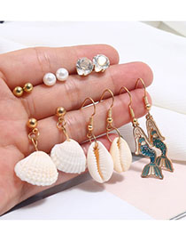 Fashion Gold Alloy Shell Mermaid Stud Earring Set