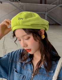 Fashion Japanese Embroidery Green Letter Embroidery Fleece Beret