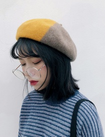 Fashion Wool Color Matching Turmeric Color Matching Woolen Beret