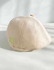Fashion Corduroy Cap Beige Thin Embroidered Letter Beret