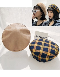 Fashion Suede Plaid Double Sided Khaki Plaid Beret