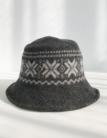Fashion Snowflake Geometry Black (pre-sale 7) Wool Snowflake Knit Fisherman Hat