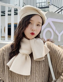 Fashion Solid Color One Meter Scarf Beige Knitted Woolen Cross Scarf