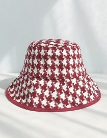 Fashion Wrapped Houndstooth Wine Red Rough Plaid Fisherman Hat
