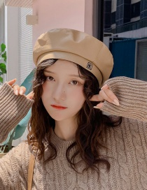 Fashion Pu Letter K Innocent Beige Pu Leather Letter K Beret