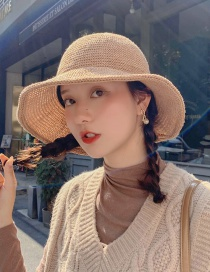 Fashion Light Board Knit Camel Milk Silk Fisherman Hat