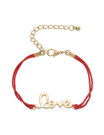 Fashion Wax Rope Red Alloy Letter Love Braided Bracelet