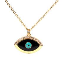 Fashion Black Drip Oil Eye Micro-inlaid Zircon Necklace