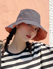 Fashion Four Geometric Embroidery Double Sided Black + Brick Red Double-sided Solid Color Fisherman Hat