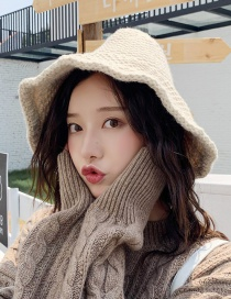 Fashion Knitted Love Flower Beige Knitted Woolen Big Fisherman Hat