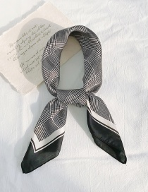 Fashion Black Side Houndstooth Black Houndstooth Thin Silk Scarf