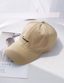 Fashion Forever Beige Letter Soft Top Bend Baseball Cap