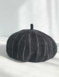 Fashion Short-haired Striped Black Short-haired Beret
