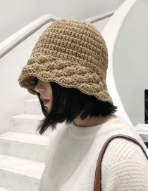 Fashion Wool Fan-shaped Camel Knitted Lace Wool Fisherman Hat