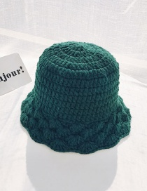 Fashion Wool Fan-shaped Dark Green Knitted Lace Wool Fisherman Hat