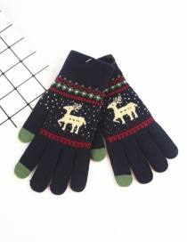 Fashion Upper Cyan Fawn Christmas Plus Velvet Knitted Wool Touch Screen Gloves