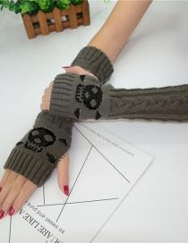 Fashion Dark Gray Black Skull Long-sleeved Half-finger Gloves