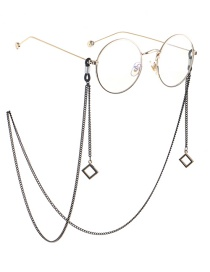Fashion Black Square Chain Glasses Chain