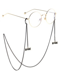 Fashion Black Hanging Neck Letter Love Chain Glasses Chain