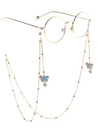 Fashion Pink Pearl Butterfly Beaded Chain Glasses Chain