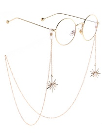 Fashion Gold Non-slip Metal Pearl Snowflake Glasses Chain