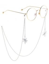 Fashion Silver Non-slip Metal Pearl Snowflake Glasses Chain