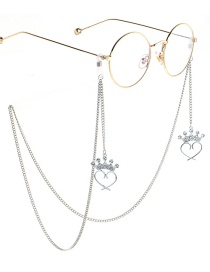 Fashion Silver Crown Peach Heart Diamond Metal Chain Glasses Chain