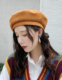 Fashion Suede Streamer Camel Bow Streamer Flat Top Beret  Suede