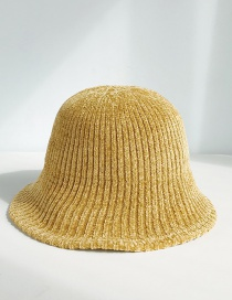 Fashion Thin Strip Chenille Turmeric Chenille Wool Cap  Chenille