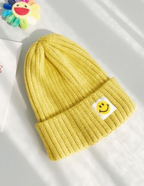 Fashion Patch Smiley Turmeric Patch Smiley Wool Cap