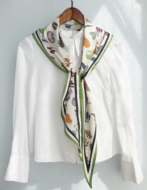 Fashion Diamond-shaped Apricot Bottom Green Fruit And Vegetable Twill Diamond Scarf Scarf
