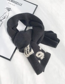 Fashion 1976 Black Knitted Digital Short Scarf