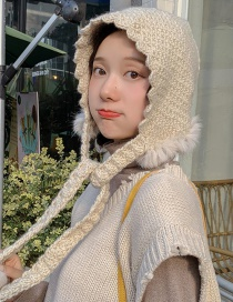 Fashion Rabbit Fur Hat Beige Woven Wool Ball Laced Wool Cap