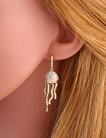 Fashion Gold S925 Silver Pin Studded Jellyfish Earrings