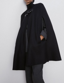 Fashion Black Pocket Cloak Coat