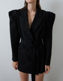 Fashion Black Fluffy Sleeve Suit