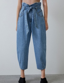Fashion Blue Belted Wide-leg Jeans